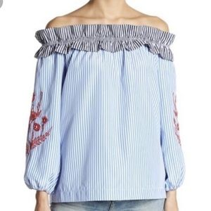 Romeo & Juliet Couture pinstriped off shoulder top